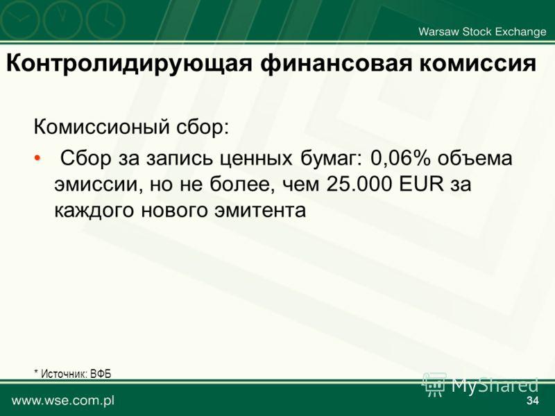 34 Контролидирующая финансовая комиссия Комиссионый сбор: Сбор за запись ценных бумаг: 0,06% объема эмиссии, но не более, чем 25.000 EUR за каждого нового эмитента * Источник: ВФБ