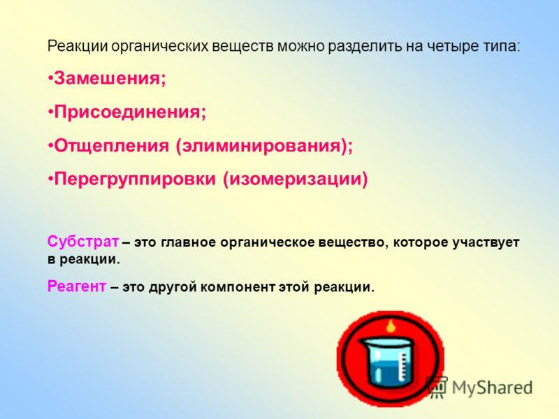 Реакции органических веществ можно разделить на четыре типа: Замешения; Присоединения; Отщепления (элиминирования); Перегруппировки (изомеризации) Субстрат – это главное органическое вещество, которое участвует в реакции. Реагент – это другой компоне