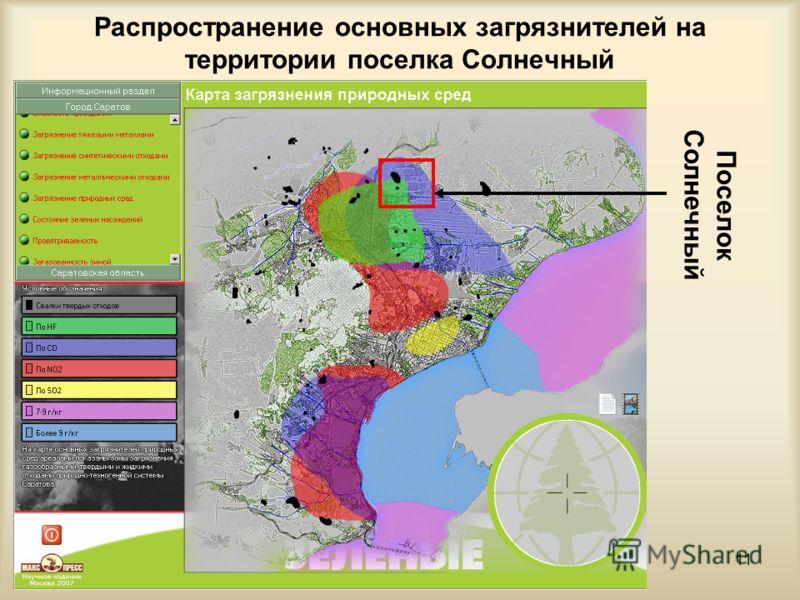 11 Распространение основных загрязнителей на территории поселка Солнечный Поселок Солнечный