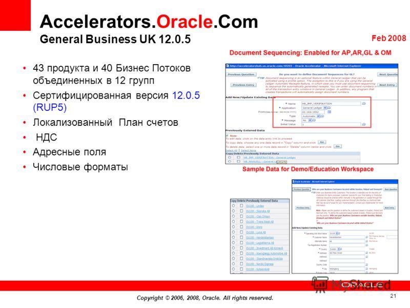 Copyright © 2006, 2008, Oracle. All rights reserved. 21 Accelerators.Oracle.Com General Business UK 12.0.5 43 продукта и 40 Бизнес Потоков объединенных в 12 групп Сертифицированная версия 12.0.5 (RUP5) Локализованный План счетов НДС Адресные поля Чис