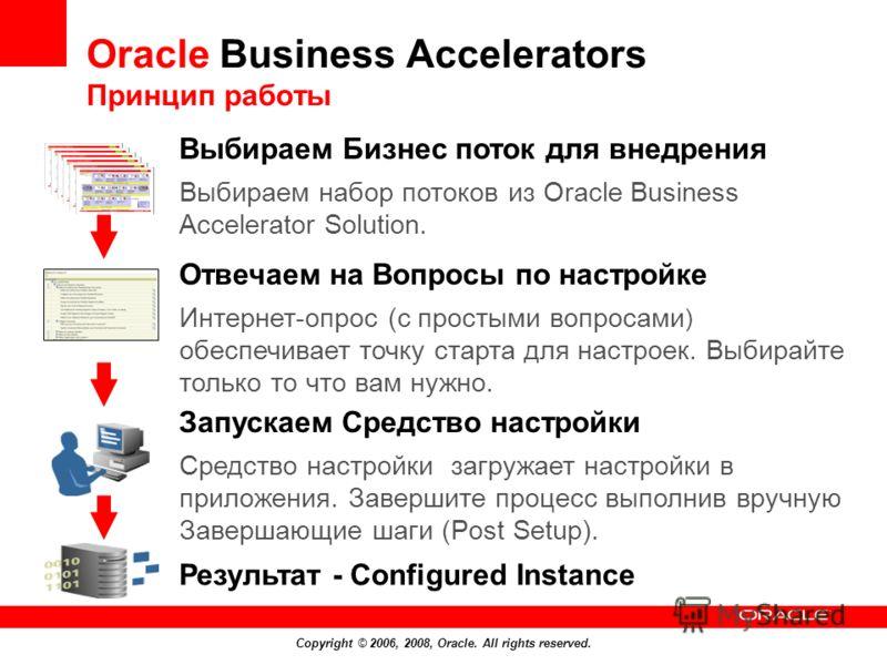 Copyright © 2006, 2008, Oracle. All rights reserved. Результат - Configured Instance Выбираем Бизнес поток для внедрения Выбираем набор потоков из Oracle Business Accelerator Solution. Отвечаем на Вопросы по настройке Интернет-опрос (с простыми вопро