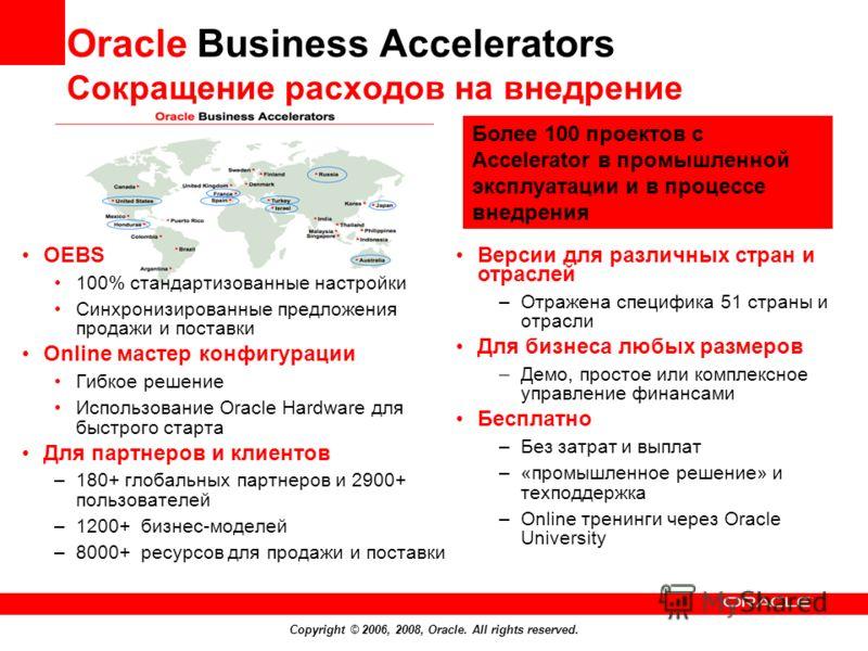 Copyright © 2006, 2008, Oracle. All rights reserved. Oracle Business Accelerators Сокращение расходов на внедрение OEBS 100% стандартизованные настройки Синхронизированные предложения продажи и поставки Online мастер конфигурации Гибкое решение Испол