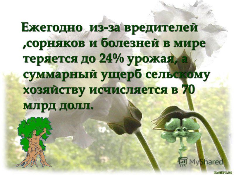 Ежегодно из-за вредителей,сорняков и болезней в мире теряется до 24% урожая, а суммарный ущерб сельскому хозяйству исчисляется в 70 млрд долл. Ежегодно из-за вредителей,сорняков и болезней в мире теряется до 24% урожая, а суммарный ущерб сельскому хо