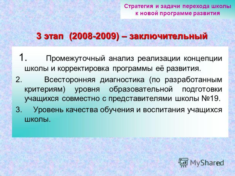 11 3 этап (2008-2009) – заключительный 1. Промежуточный анализ реализации концепции школы и корректировка программы её развития. 2. Всесторонняя диагностика (по разработанным критериям) уровня образовательной подготовки учащихся совместно с представи
