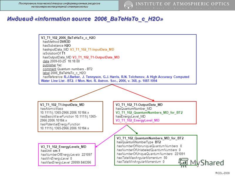 Индивид «information source 2006_BaTeHaTo_c_H2O» V3_T1_102_T1-InputData_MD hasAtomicMass 10.1111/j.1365-2966.2006.10184.x hasBasicWaveFunction 10.1111/j.1365- 2966.2006.10184.x hasPotentialEnergyFunction 10.1111/j.1365-2966.2006.10184.x V3_T1_102_T1-