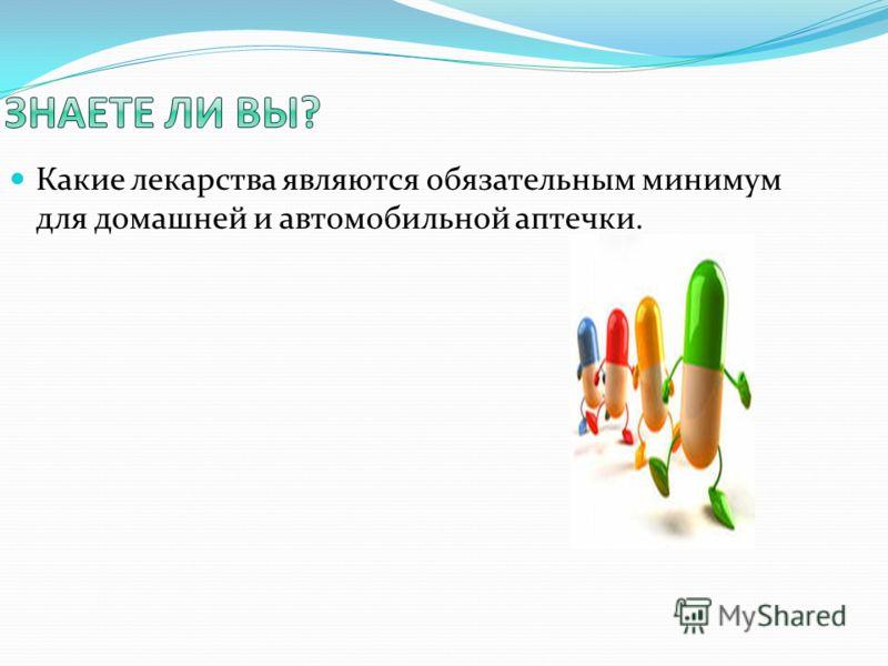 Какие лекарства являются обязательным минимум для домашней и автомобильной аптечки.