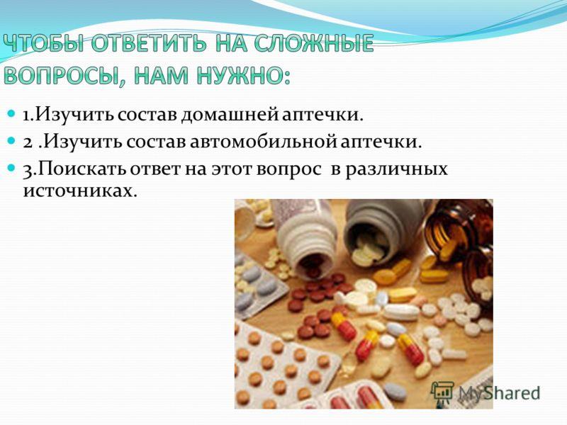 1.Изучить состав домашней аптечки. 2.Изучить состав автомобильной аптечки. 3.Поискать ответ на этот вопрос в различных источниках.