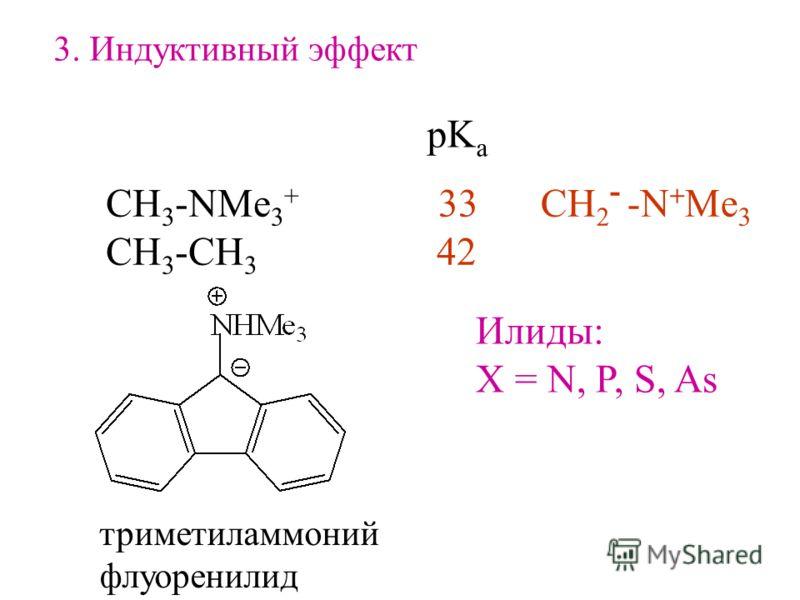 3. Индуктивный эффект СH 3 -NMe 3 + 33 CH 3 -CH 3 42 pK a CH 2 - -N + Me 3 Илиды: X = N, P, S, As триметиламмоний флуоренилид