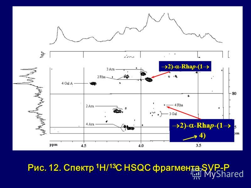 Рис. 12. Спектр 1 Н/ 13 С HSQC фрагмента SVР-P 2)- -Rhap-(1 2)- -Rhap-(1 4)4)4)4)