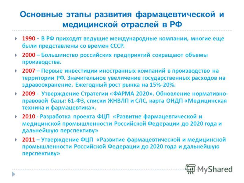 Основные этапы развития фармацевтической и медицинской отраслей в РФ 1990 - В РФ приходят ведущие международные компании, многие еще были представлены со времен СССР. 2000 – Большинство российских предприятий сокращают объемы производства. 2007 – Пер