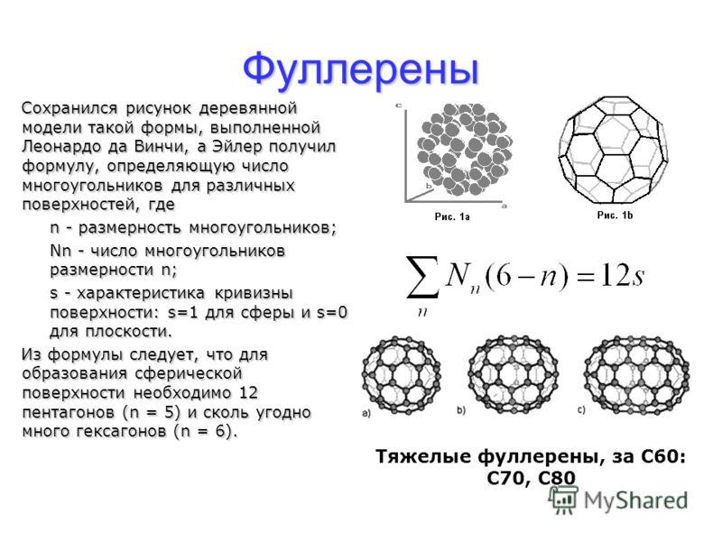 Фуллерены Сохранился рисунок деревянной модели такой формы, выполненной Леонардо да Винчи, а Эйлер получил формулу, определяющую число многоугольников для различных поверхностей, где n - размерность многоугольников; Nn - число многоугольников размерн
