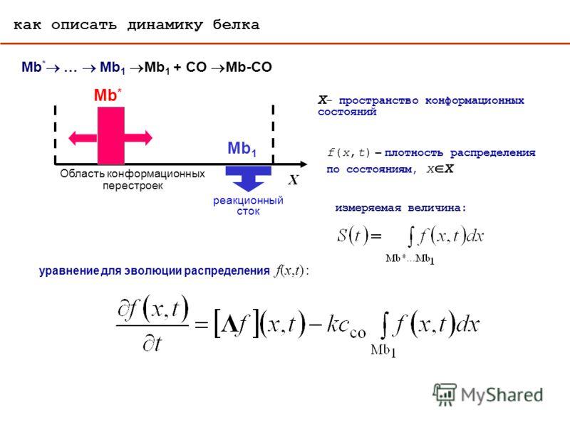 Область конформационных перестроек Mb * X Mb 1 реакционный сток уравнение для эволюции распределения f(x,t) : X – пространство конформационных состояний f(x,t) – плотность распределения по состояниям, x X измеряемая величина: как описать динамику бел