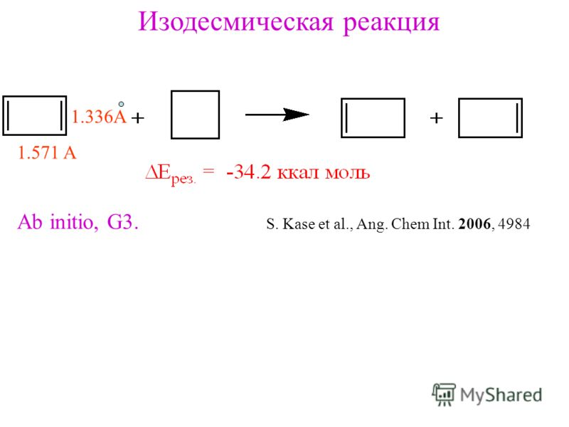 Изодесмическая реакция Ab initio, G3. S. Kase et al., Ang. Chem Int. 2006, 4984 1.571 A 1.336A