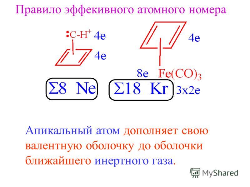 Правило эффекивного атомного номера Апикальный атом дополняет свою валентную оболочку до оболочки ближайшего инертного газа.