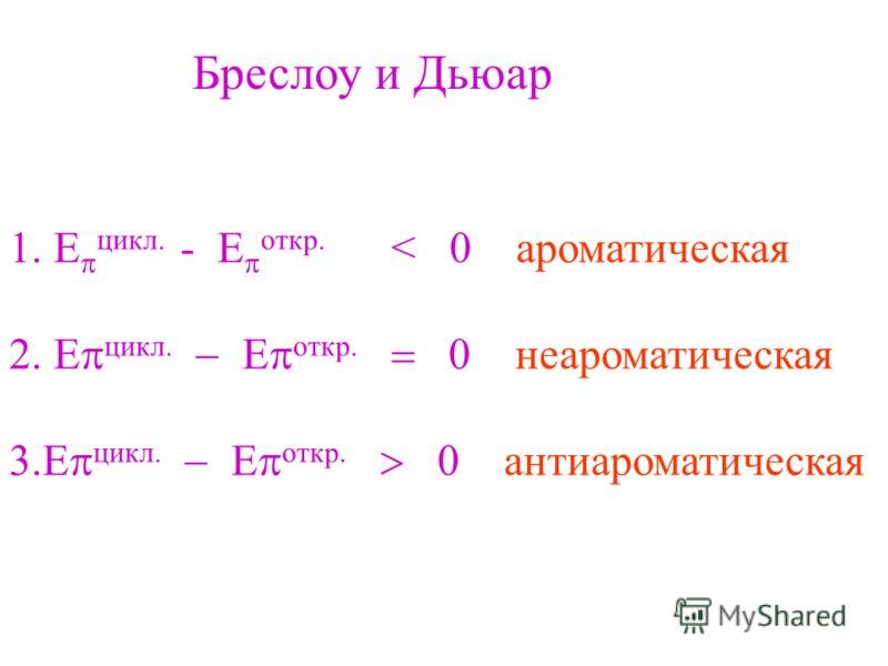 цикл. - E откр. < 0 ароматическая цикл. откр. неароматическая цикл. откр. антиароматическая Бреслоу и Дьюар