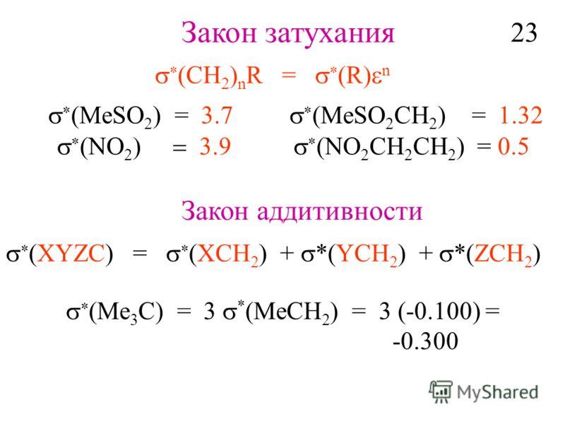 Закон затухания CH 2 ) n R = R n (MeSO 2 ) = 3.7 (MeSO 2 CH 2 ) = 1.32 (NO 2 CH 2 CH 2 ) = 0.5 Закон аддитивности XYZC) = XCH 2 ) + *(YCH 2 ) + *(ZCH 2 ) Me 3 C) = 3 * (MeCH 2 ) = 3 (-0.100) = -0.300 23