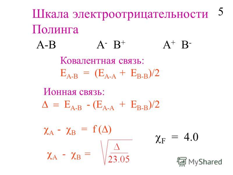 Шкала электроотрицательности Полинга A-B A - B + A + B - Ковалентная связь: E A-B = (E A-A + E B-B )/2 Ионная связь: E A-B - (E A-A + E B-B )/2 A - B = f ( ) A - B = F = 4.0 5