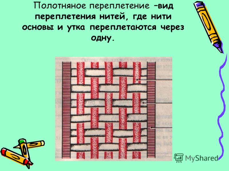 Полотняное переплетение –вид переплетения нитей, где нити основы и утка переплетаются через одну.