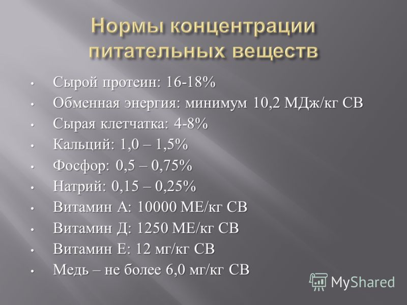 Сырой протеин : 16-18% Сырой протеин : 16-18% Обменная энергия : минимум 10,2 МДж / кг СВ Обменная энергия : минимум 10,2 МДж / кг СВ Сырая клетчатка : 4-8% Сырая клетчатка : 4-8% Кальций : 1,0 – 1,5% Кальций : 1,0 – 1,5% Фосфор : 0,5 – 0,75% Фосфор