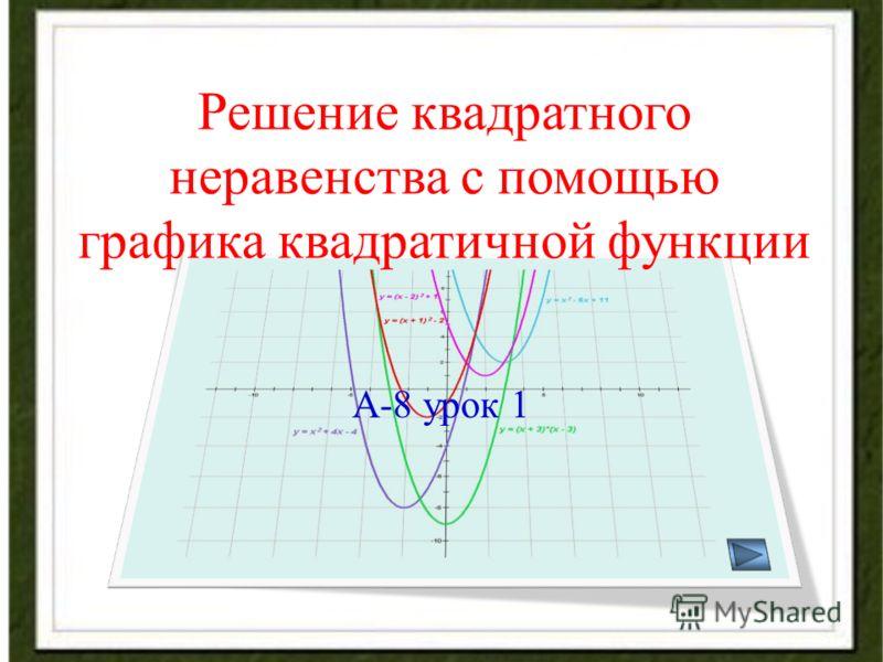Решение квадратного неравенства с помощью графика квадратичной функции А-8 урок 1