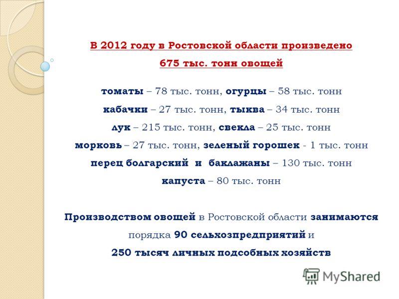 В 2012 году в Ростовской области произведено 675 тыс. тонн овощей томаты – 78 тыс. тонн, огурцы – 58 тыс. тонн кабачки – 27 тыс. тонн, тыква – 34 тыс. тонн лук – 215 тыс. тонн, свекла – 25 тыс. тонн морковь – 27 тыс. тонн, зеленый горошек - 1 тыс. то