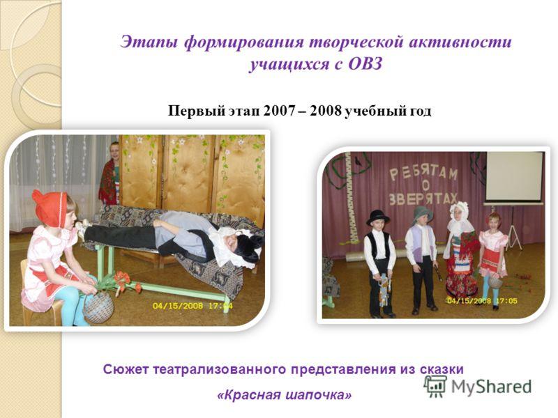 Этапы формирования творческой активности учащихся с ОВЗ Первый этап 2007 – 2008 учебный год Сюжет театрализованного представления из сказки «Красная шапочка»