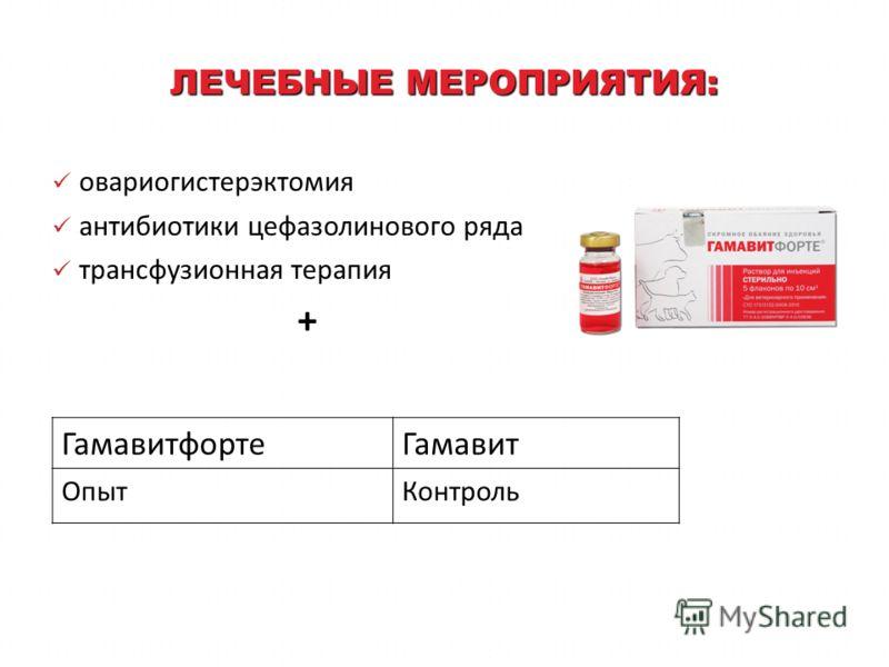 ЛЕЧЕБНЫЕ МЕРОПРИЯТИЯ: овариогистерэктомия антибиотики цефазолинового ряда трансфузионная терапия + ГамавитфортеГамавит ОпытКонтроль