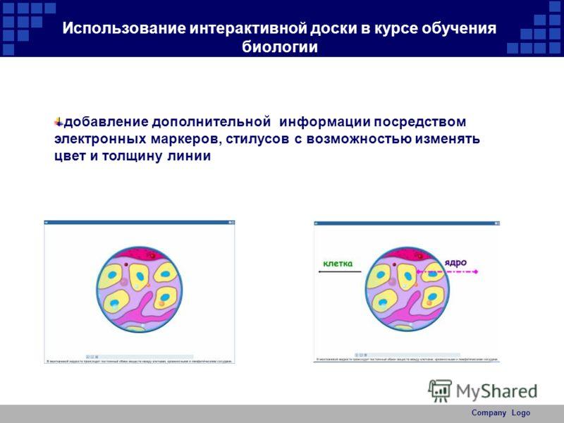 Company Logo Использование интерактивной доски в курсе обучения биологии добавление дополнительной информации посредством электронных маркеров, стилусов с возможностью изменять цвет и толщину линии