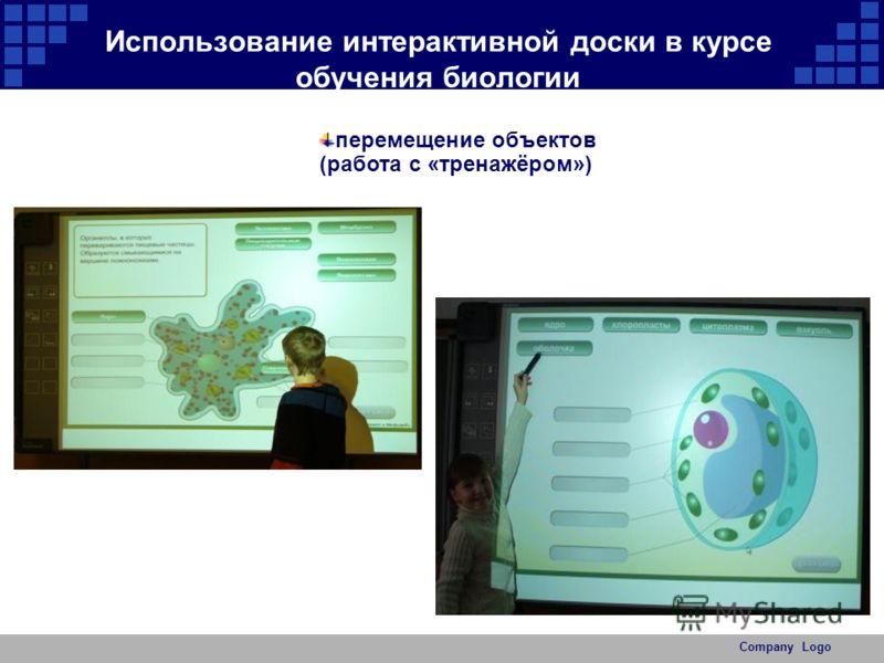 Company Logo Использование интерактивной доски в курсе обучения биологии перемещение объектов (работа с «тренажёром»)