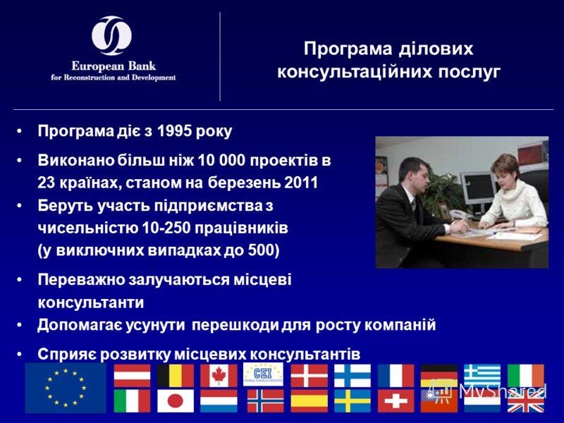 Програма ділових консультаційних послуг Програма діє з 1995 року Виконано більш ніж 10 000 проектів в 23 країнах, станом на березень 2011 Беруть участь підприємства з чисельністю 10-250 працівників (у виключних випадках до 500) Переважно залучаються