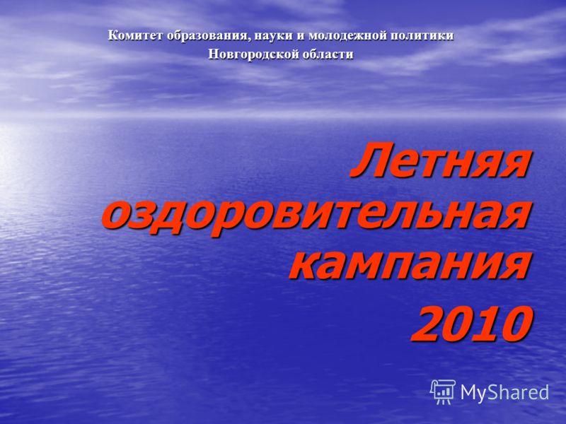 Комитет образования, науки и молодежной политики Новгородской области Летняя оздоровительная кампания 2010