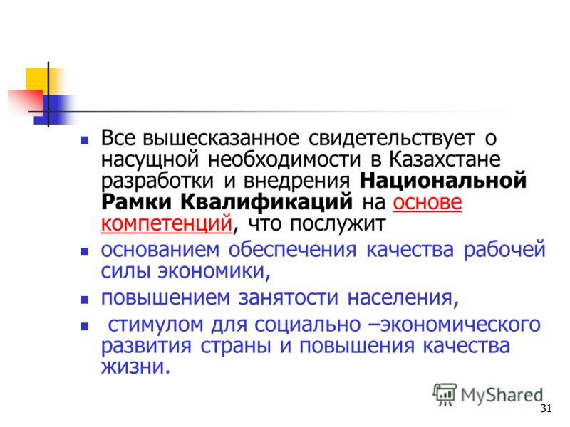 31 Все вышесказанное свидетельствует о насущной необходимости в Казахстане разработки и внедрения Национальной Рамки Квалификаций на основе компетенций, что послужит основанием обеспечения качества рабочей силы экономики, повышением занятости населен