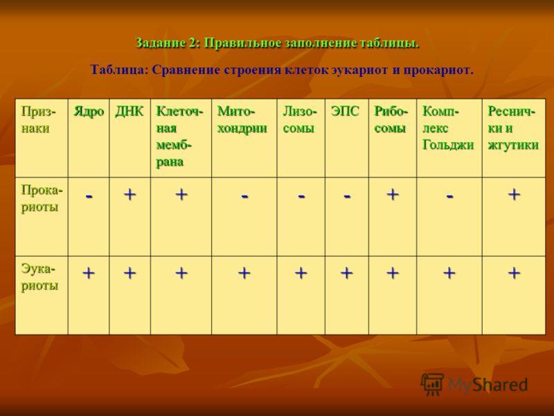 Задание 2: Правильное заполнение таблицы. Таблица: Сравнение строения клеток эукариот и прокариот. Приз- наки ЯдроДНК Клеточ- ная мемб- рана Мито- хондрии Лизо- сомы ЭПС Рибо- сомы Комп- лекс Гольджи Реснич- ки и жгутики Прока- риоты -++---+-+ Эука-