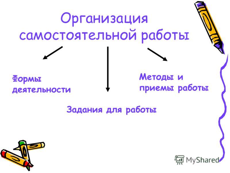 Организация самостоятельной работы Формы деятельности Задания для работы Методы и приемы работы