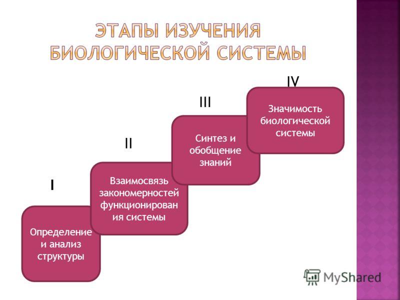 IV III II I Определение и анализ структуры Взаимосвязь закономерностей функционирован ия системы Синтез и обобщение знаний Значимость биологической системы