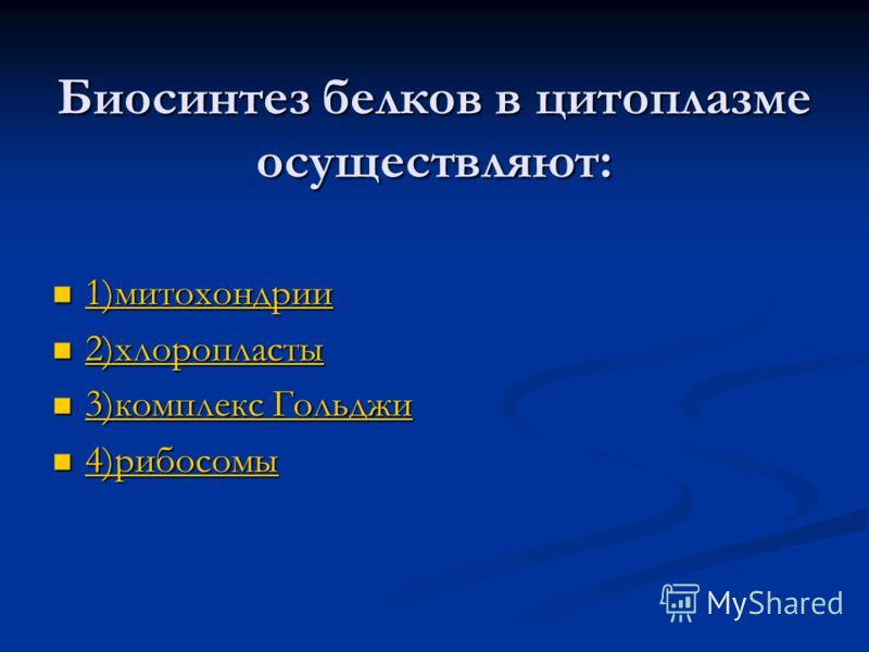 Биосинтез белков в цитоплазме осуществляют: 1)митохондрии 1)митохондрии 1)митохондрии 2)хлоропласты 2)хлоропласты 2)хлоропласты 3)комплекс Гольджи 3)комплекс Гольджи 3)комплекс Гольджи 3)комплекс Гольджи 4)рибосомы 4)рибосомы 4)рибосомы