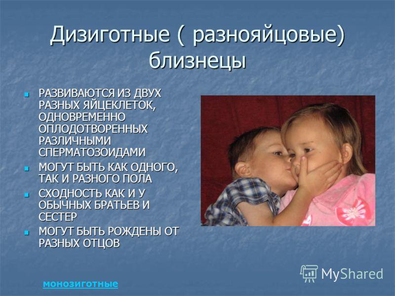 Дизиготные ( разнояйцовые) близнецы РАЗВИВАЮТСЯ ИЗ ДВУХ РАЗНЫХ ЯЙЦЕКЛЕТОК, ОДНОВРЕМЕННО ОПЛОДОТВОРЕННЫХ РАЗЛИЧНЫМИ СПЕРМАТОЗОИДАМИ РАЗВИВАЮТСЯ ИЗ ДВУХ РАЗНЫХ ЯЙЦЕКЛЕТОК, ОДНОВРЕМЕННО ОПЛОДОТВОРЕННЫХ РАЗЛИЧНЫМИ СПЕРМАТОЗОИДАМИ МОГУТ БЫТЬ КАК ОДНОГО, Т
