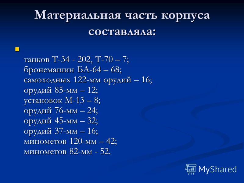 Материальная часть корпуса составляла: танков Т-34 - 202, Т-70 – 7; бронемашин БА-64 – 68; самоходных 122-мм орудий – 16; орудий 85-мм – 12; установок М-13 – 8; орудий 76-мм – 24; орудий 45-мм – 32; орудий 37-мм – 16; минометов 120-мм – 42; минометов