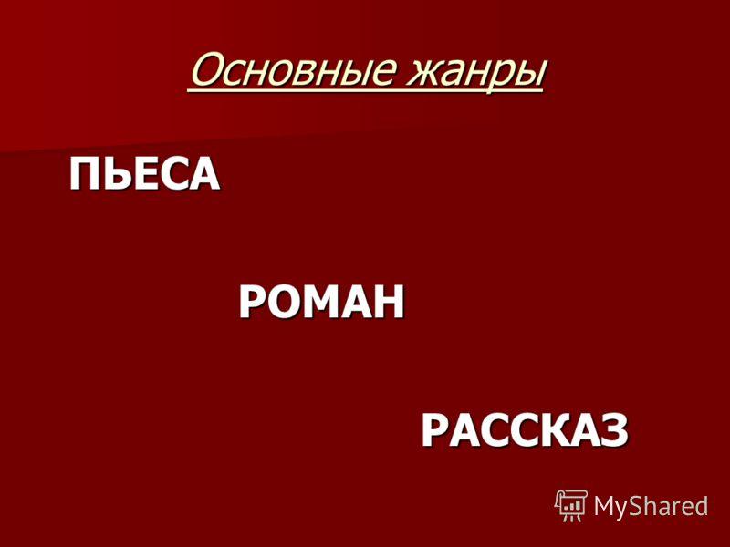 Основные жанры ПЬЕСА РОМАН РОМАН РАССКАЗ РАССКАЗ