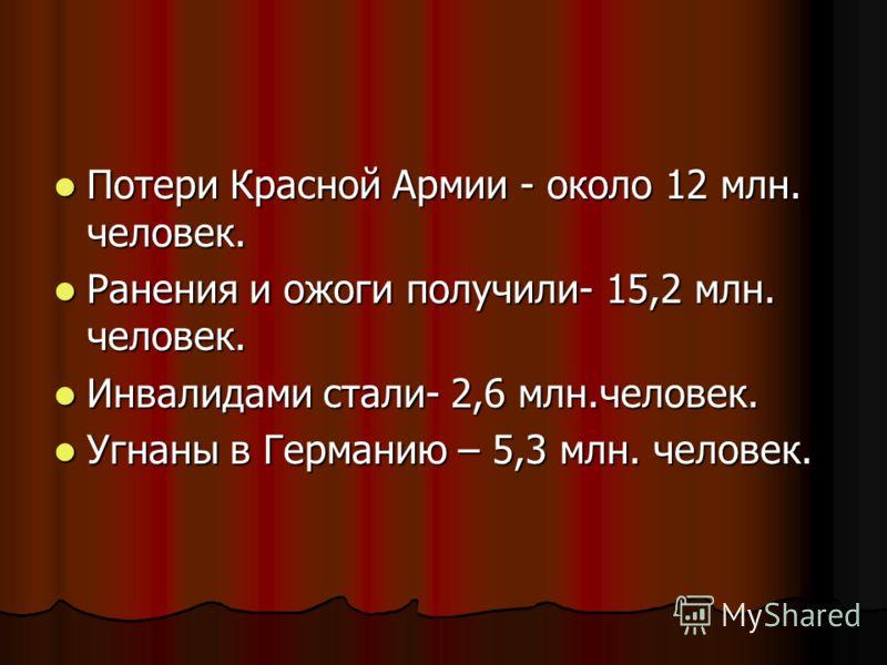 Потери Красной Армии - около 12 млн. человек. Потери Красной Армии - около 12 млн. человек. Ранения и ожоги получили- 15,2 млн. человек. Ранения и ожоги получили- 15,2 млн. человек. Инвалидами стали- 2,6 млн.человек. Инвалидами стали- 2,6 млн.человек