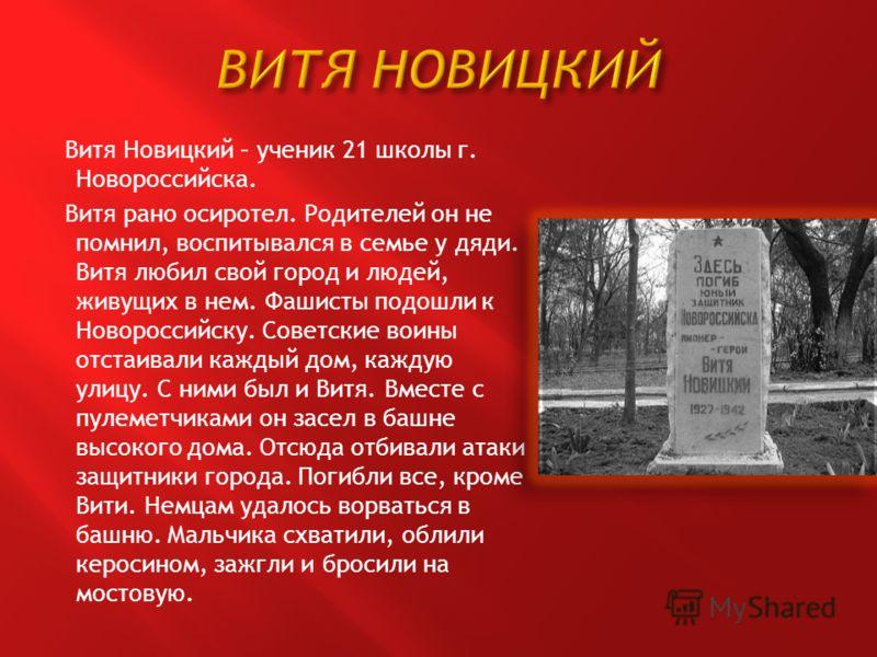 Витя Новицкий – ученик 21 школы г. Новороссийска. Витя рано осиротел. Родителей он не помнил, воспитывался в семье у дяди. Витя любил свой город и людей, живущих в нем. Фашисты подошли к Новороссийску. Советские воины отстаивали каждый дом, каждую ул