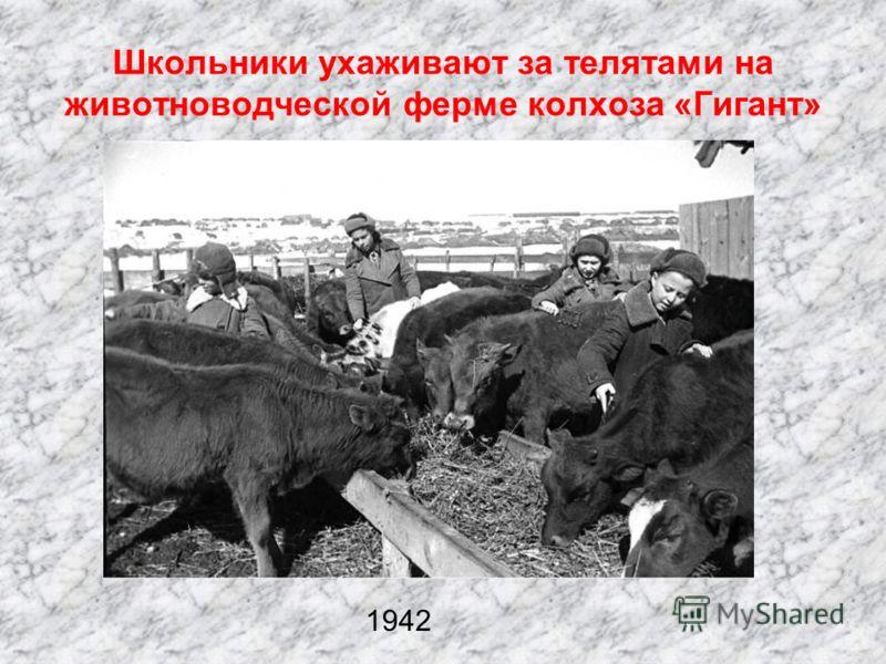Ученики школы прифронтового села за набивкой патронных лент для советской авиачасти