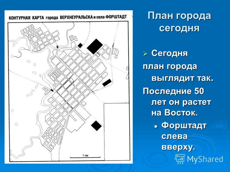 План города сегодня Сегодня Сегодня план города выглядит так. Последние 50 лет он растет на Восток. Форштадт слева вверху. Форштадт слева вверху.