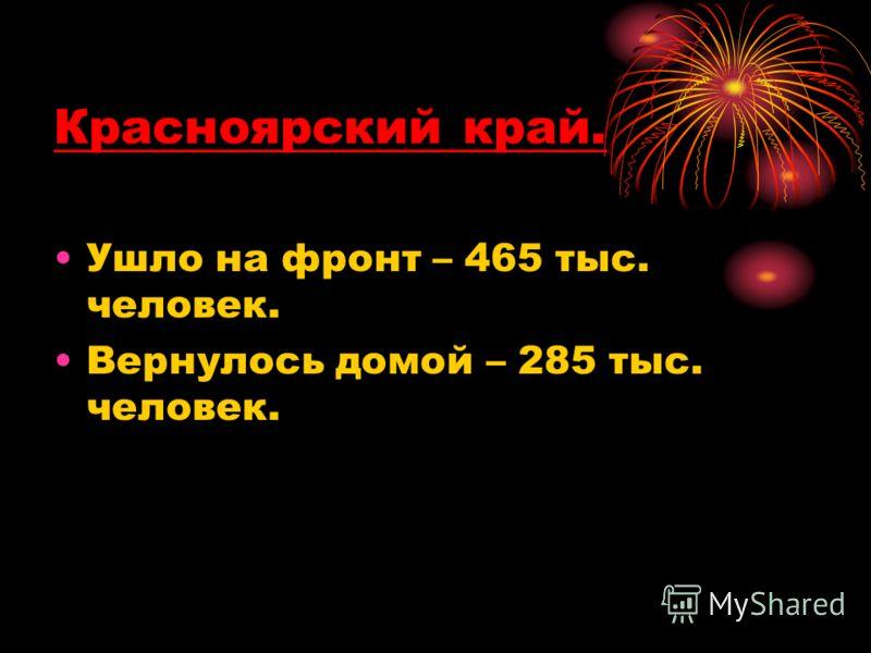 Красноярский край. Ушло на фронт – 465 тыс. человек. Вернулось домой – 285 тыс. человек.