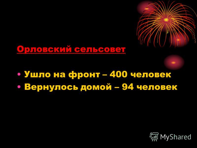 Орловский сельсовет Ушло на фронт – 400 человек Вернулось домой – 94 человек