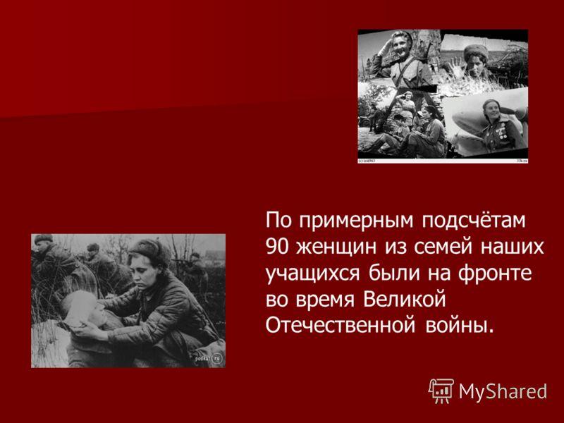 По примерным подсчётам 90 женщин из семей наших учащихся были на фронте во время Великой Отечественной войны.