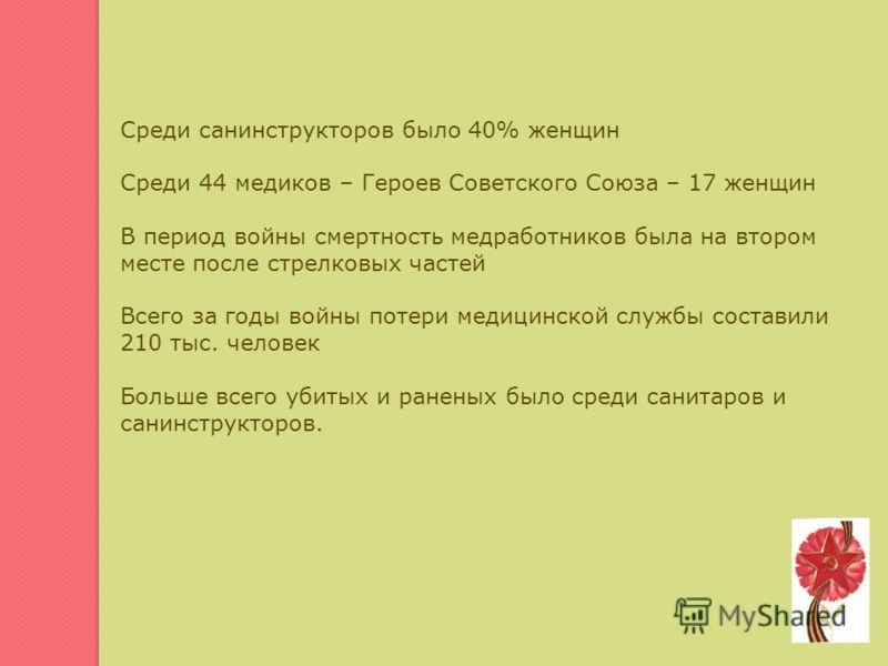 Среди санинструкторов было 40% женщин Среди 44 медиков – Героев Советского Союза – 17 женщин В период войны смертность медработников была на втором месте после стрелковых частей Всего за годы войны потери медицинской службы составили 210 тыс. человек