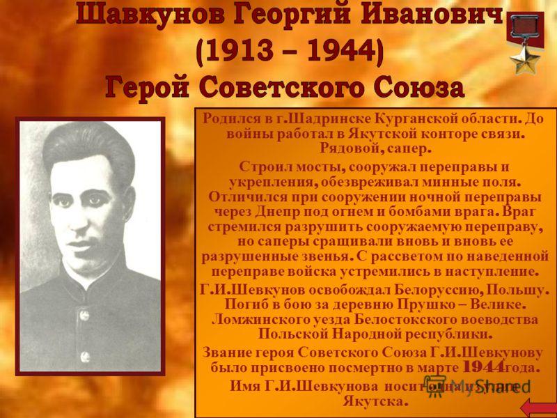Родился в г. Шадринске Курганской области. До войны работал в Якутской конторе связи. Рядовой, сапер. Строил мосты, сооружал переправы и укрепления, обезвреживал минные поля. Отличился при сооружении ночной переправы через Днепр под огнем и бомбами в