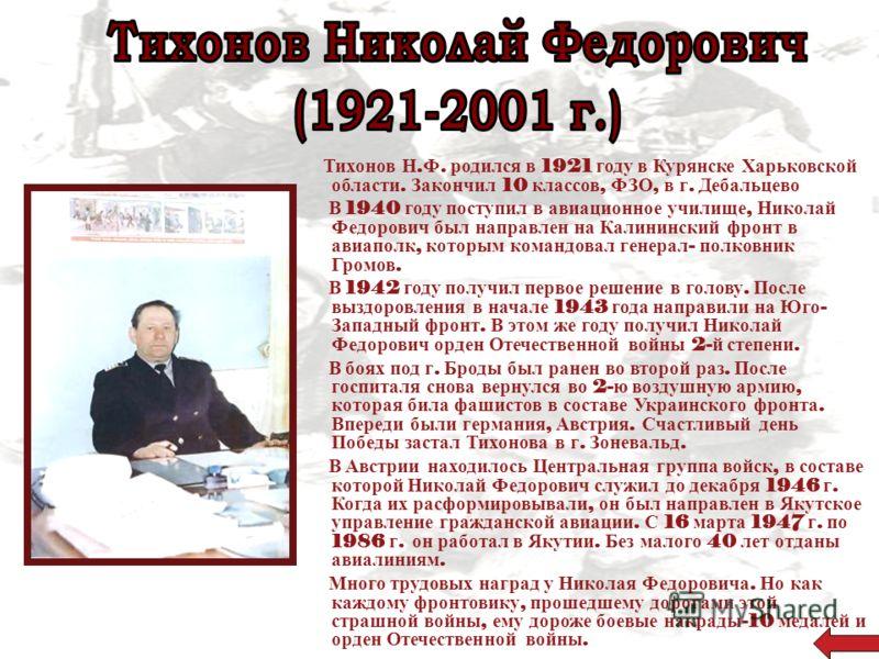 Тихонов Н. Ф. родился в 1921 году в Курянске Харьковской области. Закончил 10 классов, ФЗО, в г. Дебальцево В 1940 году поступил в авиационное училище, Николай Федорович был направлен на Калининский фронт в авиаполк, которым командовал генерал - полк