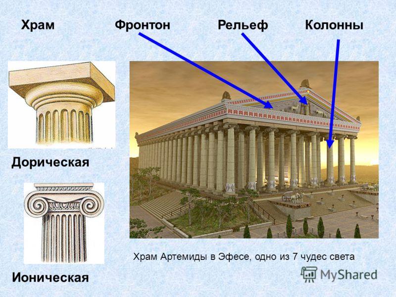 Храм Артемиды в Эфесе, одно из 7 чудес света Колонны Храм Рельеф Фронтон Дорическая Ионическая